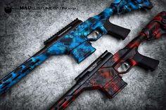 Blue and Red MAD Dragon Camo @savagearms rifles. #cerakoteMADness #camo #MADdragoncamo #savage #USA #PNW #America #hunting #hunt #outdoors