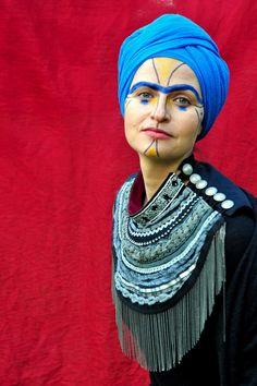 Schmuck Kragen Halskette Kragen Blau mit Pelz Winter Schmuck  Dieser Kragen ist aus Baumwolle und verschiedene Bänder gemacht. Keine Notwendigkeit, es