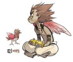 #21. Spearow (humanized/gijinka pokemon series by tamtamdi on tumblr)