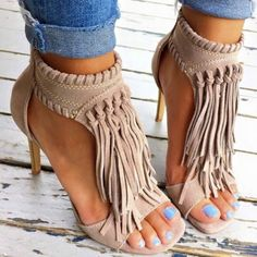 Tan Fringle Open Toe Women Sandals | You can find this at => http://feedproxy.google.com/~r/amazingoutfits/~3/73wRf8HIbo8/photo.php
