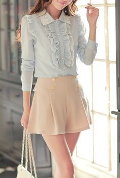 Skylight Confessions Ruffle Front Blouse. I like the skirt too, it goes well.