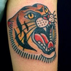 Traditional Tiger Tattoo Traditional Tiger Tattoo, Tiger Lady, Woman Face, Lady Face, Time Tattoos, Animal Heads, Tiger Print, Old School, Tatting
