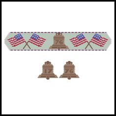 Liberty Bell Bracelet & Earrings | Bead-Patterns.com