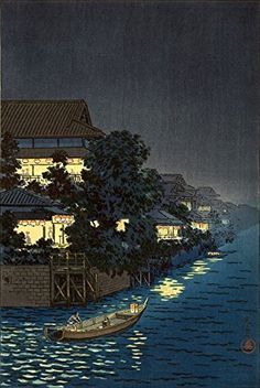 "Japanese Art Print ""Ryuhashi at Night, Yanagibashi"" by Tsuchiya Koitsu. Shin Hanga and Art Reproductions http://www.amazon.com/dp/B00XWUGECI/ref=cm_sw_r_pi_dp_xg9twb0R57ATT"