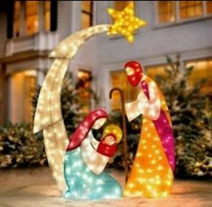 Outdoor Nativity Sets Lighted Outdoor nativity sets outdoor nativity sets scene and decoration christmas 6 ft lighted tinsel nativity scene outdoor holiday yard lawn decor workwithnaturefo