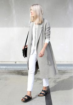 Ground an airy white and light gray look with chunky black sandals