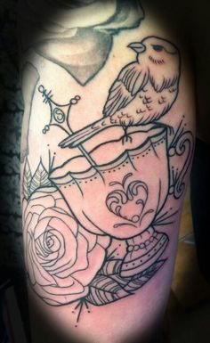 B/W Teacup bird roses tattoo