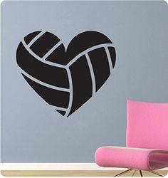 "26"" Volleyball Heart Shape Love Sport Soccer Wall Decal Sticker Art Mural Home Décor Quote"