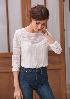 Updone dark chocolette in eggshell sheer knit blouse, waisted navy denims