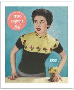 1950s Rose Fair Isle Sweater Knitting Pattern  PDF  Instant