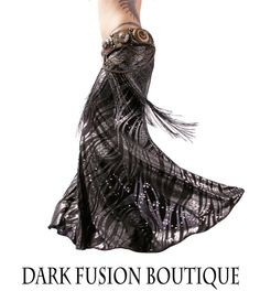 Skirt YOUR SIZE Black & Solver Mermaid by darkfusionboutique