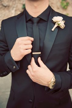 Black Gold Wedding Groom black suit and gold accents at The Mountain Winery Groom Attire Black, Groom Suits, Groom Outfit, Wedding Suits For Groom, The Groom, Groomsmen Tuxedos Black, Unique Groomsmen Attire, Tuxes For Weddings, Men Wedding Attire