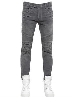 37573ea3dcbe BALMAIN - 18CM BIKERJEANS AUS VERWASCHENEM BAUMWOLLDENIM - € 754.00 Bootcut- jeans Für Herren,