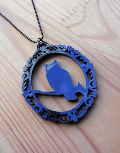 Victorian Frame Gothic Owl Necklace - Acrylic Laser Cut Jewelry - Statement Jewelry