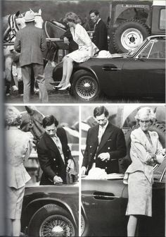 UH-OH........Princess Diana sitting on Prince Charles Aston Martin car at Smiths Lawn Windsor. The two argued after she dented it June 1987