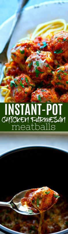 These chicken Parmesan meatballs are 10x easier than the traditional version and they're made in mere MINUTES in the instant pot! Just add hot spaghetti and dinner is good to go.