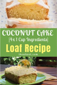 Four Ingredients Coconut Cake Loaf Coconut Cake Easy, Coconut Loaf Cake, Coconut Desserts, Coconut Recipes, Delicious Cake Recipes, Yummy Cakes, Dessert Recipes, Icing Ingredients, Desert Recipes
