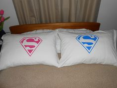 His and Hers Superman Logo Standard Pillowcases by TreasuresShop, $36.00