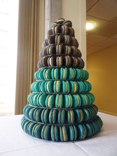 Beautiful Silver,Tiffany Blue and Navy Wedding Macaron Tower by Frandie Macaron