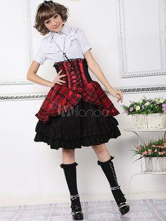 Robe lolita punk rouge en coton mélangé-No.2