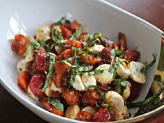 A winter Caprese made with roasted tomatoes. #recipe