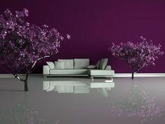 violet violet violet---for Kinsey's room Domier Plum Walls, Burgundy Living Room, Purple Rooms, Gray Rooms, Bedroom Wall Colors, Bedroom Ideas, Bedroom Decor, Madrid, Shades Of Purple