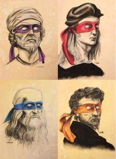 Miguelangelo, Rafael, Donatello y Leonardo