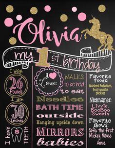 Pink and Gold Glitter Unicorn First Birthday Chalkboard Poster | Girl 1st Birthday Chalk Board | Custom Printable | Girl | Polka Dots by MichelleRayeDesigns on Etsy