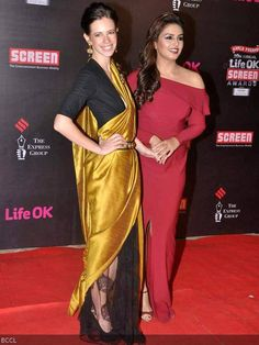 Kalki Koechlin and Huma Qureshi seen bonding with each other at Annual Screen Awards held in Mumbai. Kalki Koechlin, Huma Qureshi, Bollywood, Awards, Sari, Bridal, My Style, Mumbai, News