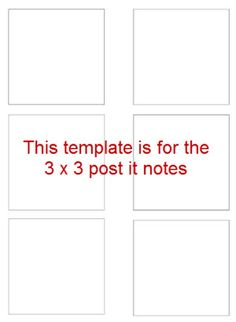 Template for printing on Post It notes