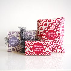 for him and for her. heartic wrapping paper and matching sticker, by asugatic.