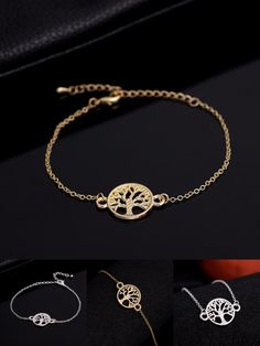 [Visit to Buy] Jisensp 2017 New Fashion Smile Link Chain Tree of Life Bracelet for Women Party Gifts  B037 #Advertisement