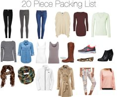 20 piece vacation packing list for Paris, NYC, Chicago, Europe, you name it!  Works great for spring, fall or winter.  Includes 7 days of outfits.
