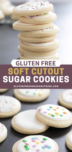 These soft gluten free cutout sugar cookies with a meringue-type frosting are in a class by themselves. They'll hold any shape you like! Dairy Free Sugar Cookies, Soft Frosted Sugar Cookies, Gluten Free Christmas Cookies, Gluten Free Cookie Recipes, Gluten Free Sweets, Gluten Free Cooking, Sugar Cookies Recipe, Cookies Soft, Easy Gluten Free Cookies