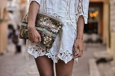 Coin and bead embellished soft clutch- so boho-chic cool! Can take you from day to night beautifully!