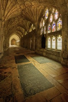 Photograph Heraldic Light by Gary Howells on 500px. Gloucester Cathedral. In the cloisters Tudor heraldic glass offers an interesting insight into the Reformation.Gloucester's other great contribution to English architecture is fan-vaulting which is now believed to have been invented here in the 1350s. The fan-vaulted cloisters, built for the monks to live and study in are now open every day for all to enjoy.