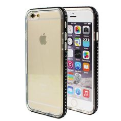 Amazon.com: iPhone 6 Bumper Case, Premium 2 in 1 Glossy Diamond Rhinestone Aluminum Metal Bumper Case Frame with Shock-Absorbing Protective Transparent Clear TPU Back Cover for Apple iPhone 6 6S 4.7 Inch (Black): Cell Phones & Accessories