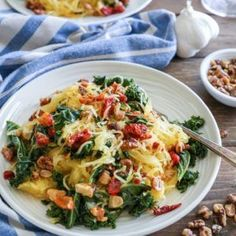 Roasted Garlic and Kale Spaghetti Squash with Sun-Dried Tomatoes - The Roasted Root