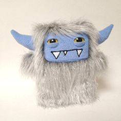Harvey a grey shag faux fur plush monster by DoodleDollies on Etsy, $42.00