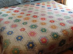 Antique Handmade Quilt colorful Handmade Quilt by TowerofVintage