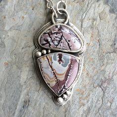 Senoran Dendrite Necklace in Fine Silver. Designer Cabochon Jewelry for Charity.