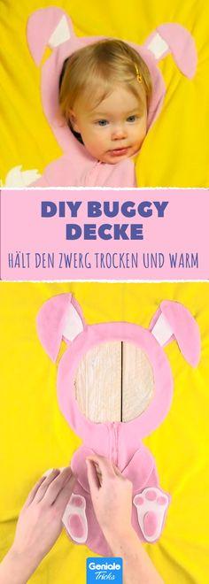 Eine wunderbare Wahl für den Buggy - mach diese süße Fleece-Decke selber! #diy #nähen #kinder #baby #decke #fleece #hase #buggy