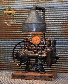 Steampunk Industrial / Antique Water Pump / Barn wood / Steam Gauge / Lamp Light #1915