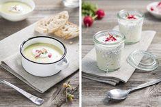 Frühlingsgerichte Kressesuppe Radieschendip