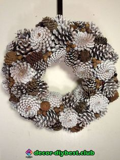 "18 pine cone wreath in white with natural colored pine cones and acorns. Beautiful winter decor that will last indefinitely.Képtalálat a következőre: ""pine cones ideas""Slikovni rezultat za how to make a wreath out of pine conesNatural Pinecon Pine Cone Christmas Decorations, Christmas Pine Cones, Xmas Wreaths, Pinecone Decor, White Pine Cone, Pine Cone Art, Pine Cone Wreath, Painting Pine Cones, White Wreath"