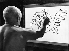 "Picasso painting a fish from ""Le Mystere Picasso"""