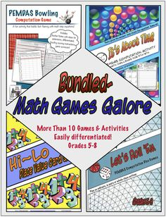 Math Games Galore Bundle is a collection of my favorite math computation, order of operations and place value games. These year-round games are differentiated and accessible to students in 4th-8th grade. They work well in centers, as a solitaire activity when students are finished, as team challenges or homework (when you want students to have some meaningful practice). $