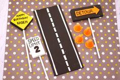 3D Street Sign Road Traffic Construction Fondant Cake Decor Set