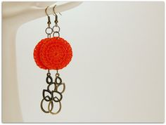 Orange Handmade Crocheted 1 Inch Circle Appliques With by zima