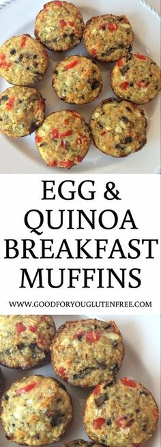 Egg and Quinoa Breakfast Muffins - Good For You Gluten Free This recipe makes for an easy, on-the-go gluten-free breakfast and is a great way to use leftover quinoa from dinner! Quinoa Muffins, Healthy Breakfast Muffins, Gluten Free Recipes For Breakfast, Gluten Free Breakfasts, Breakfast Bake, Sausage Breakfast, Best Breakfast, Healthy Recipes, Breakfast Casserole